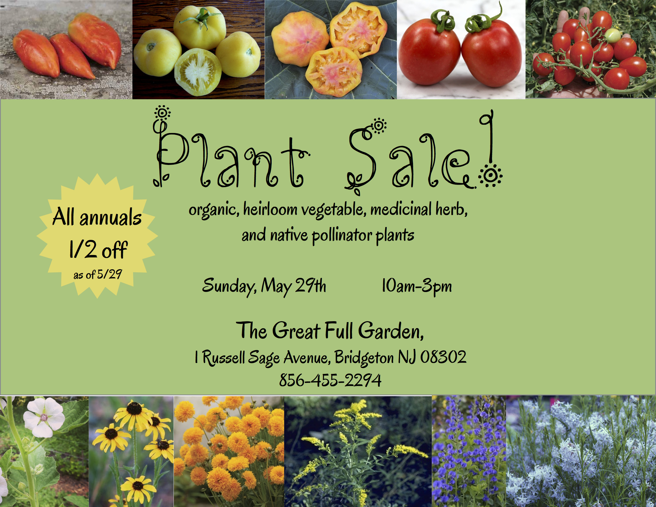 Plant Sale scheduled for May 29th 2016